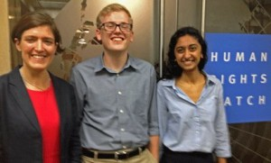 Zama Coursen-Neff '93 hosted Colin Vaida '16 and Zara Riaz '15 for a summer with the Human Rights Watch
