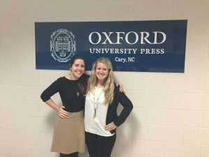 Katie Bennett '16 (right) with Molly Hansen, her job shadowing host at Oxford University Press.