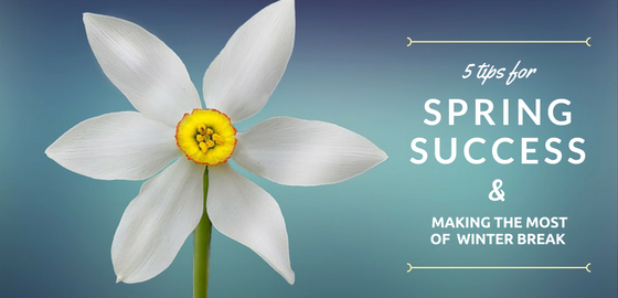 "Flower blossom with text ""5 Tips for Spring Success and Making the Most of Winter Break"""