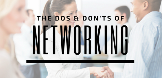 "People networking in a room with text ""The Dos and Don'ts of Networking"""