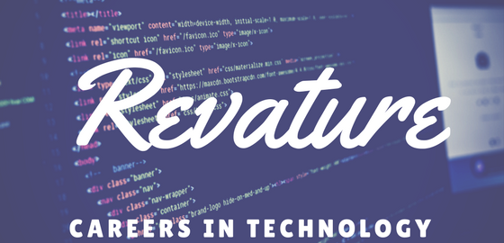 "Computer show HTML code with text ""Revature - Careers in Technology"""