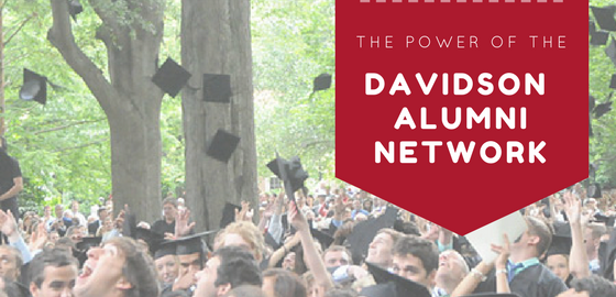 "Students at commencement with text ""The Power of the Davidson Alumni Network"""